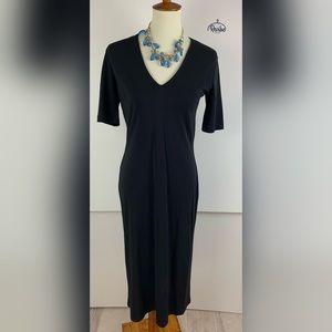 GAP Black Short Sleeve Fitted Maxi Dress D1172